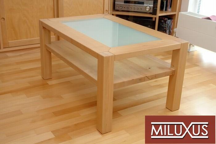 konferenční stolek - buk přírodní , kombinace masiv a dýha, mléčný konex