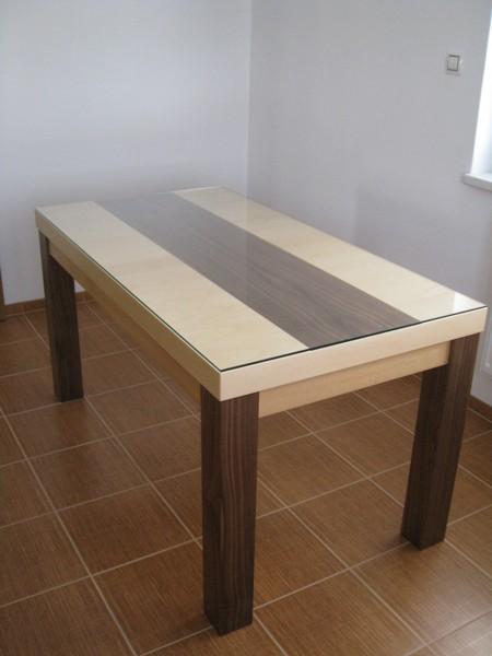 stůl ořech - kombinace jasan - dýha